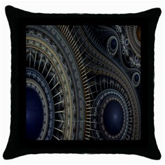 Fractal Spikes Gears Abstract Throw Pillow Case (black)