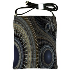 Fractal Spikes Gears Abstract Shoulder Sling Bags by Celenk