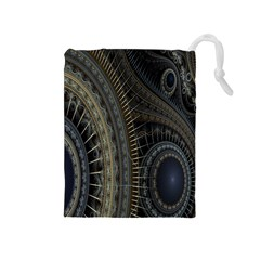 Fractal Spikes Gears Abstract Drawstring Pouches (medium)  by Celenk