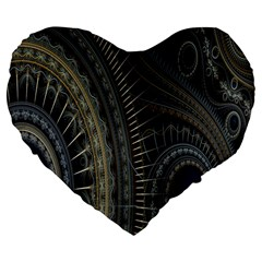 Fractal Spikes Gears Abstract Large 19  Premium Flano Heart Shape Cushions by Celenk