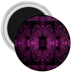 Fractal Magenta Pattern Geometry 3  Magnets by Celenk