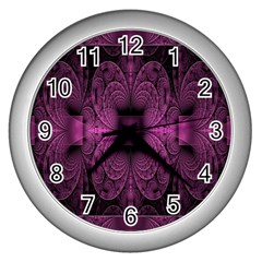 Fractal Magenta Pattern Geometry Wall Clocks (silver)  by Celenk