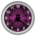 Fractal Magenta Pattern Geometry Wall Clocks (Silver)  Front