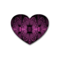 Fractal Magenta Pattern Geometry Rubber Coaster (heart)  by Celenk