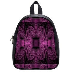 Fractal Magenta Pattern Geometry School Bag (small) by Celenk