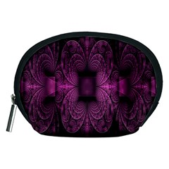 Fractal Magenta Pattern Geometry Accessory Pouches (medium)  by Celenk