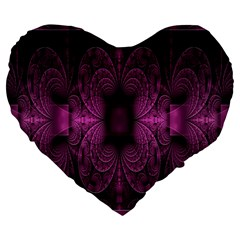Fractal Magenta Pattern Geometry Large 19  Premium Flano Heart Shape Cushions by Celenk