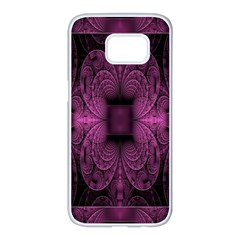 Fractal Magenta Pattern Geometry Samsung Galaxy S7 Edge White Seamless Case