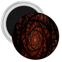 Fractal Red Brown Glass Fantasy 3  Magnets by Celenk