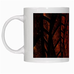Fractal Red Brown Glass Fantasy White Mugs by Celenk