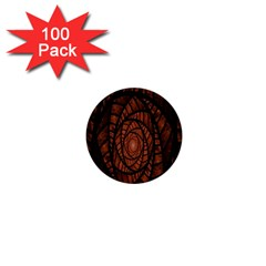 Fractal Red Brown Glass Fantasy 1  Mini Buttons (100 Pack)  by Celenk