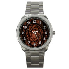 Fractal Red Brown Glass Fantasy Sport Metal Watch by Celenk
