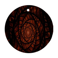 Fractal Red Brown Glass Fantasy Round Ornament (two Sides) by Celenk