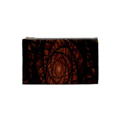 Fractal Red Brown Glass Fantasy Cosmetic Bag (small)  by Celenk