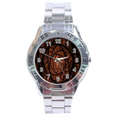 Fractal Red Brown Glass Fantasy Stainless Steel Analogue Watch by Celenk