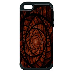 Fractal Red Brown Glass Fantasy Apple Iphone 5 Hardshell Case (pc+silicone) by Celenk