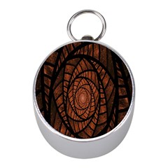 Fractal Red Brown Glass Fantasy Mini Silver Compasses by Celenk