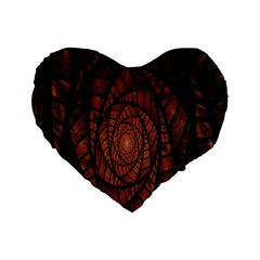 Fractal Red Brown Glass Fantasy Standard 16  Premium Flano Heart Shape Cushions by Celenk