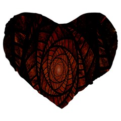 Fractal Red Brown Glass Fantasy Large 19  Premium Flano Heart Shape Cushions by Celenk