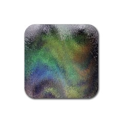 Frosted Glass Background Psychedelic Rubber Square Coaster (4 Pack)  by Celenk
