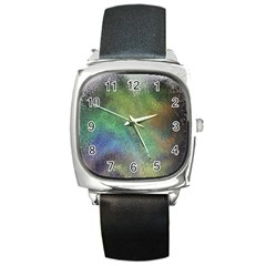 Frosted Glass Background Psychedelic Square Metal Watch