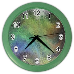 Frosted Glass Background Psychedelic Color Wall Clocks