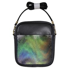 Frosted Glass Background Psychedelic Girls Sling Bags by Celenk