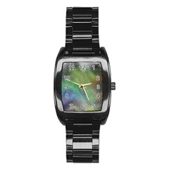 Frosted Glass Background Psychedelic Stainless Steel Barrel Watch by Celenk