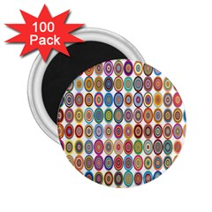 Decorative Ornamental Concentric 2 25  Magnets (100 Pack)  by Celenk