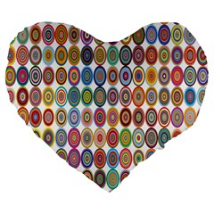 Decorative Ornamental Concentric Large 19  Premium Flano Heart Shape Cushions by Celenk