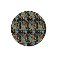 Pattern Background Fish Wallpaper Rubber Coaster (round)  by Celenk