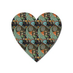 Pattern Background Fish Wallpaper Heart Magnet by Celenk