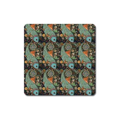Pattern Background Fish Wallpaper Square Magnet by Celenk