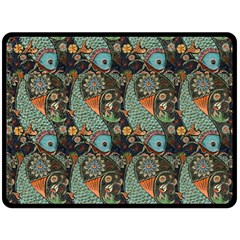 Pattern Background Fish Wallpaper Double Sided Fleece Blanket (large)