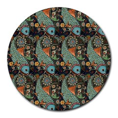 Pattern Background Fish Wallpaper Round Mousepads by Celenk