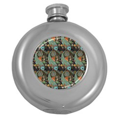 Pattern Background Fish Wallpaper Round Hip Flask (5 Oz) by Celenk
