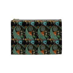 Pattern Background Fish Wallpaper Cosmetic Bag (medium)  by Celenk