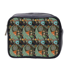 Pattern Background Fish Wallpaper Mini Toiletries Bag 2 Side by Celenk