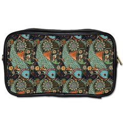 Pattern Background Fish Wallpaper Toiletries Bags by Celenk
