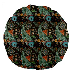 Pattern Background Fish Wallpaper Large 18  Premium Round Cushions by Celenk