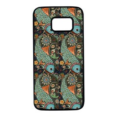 Pattern Background Fish Wallpaper Samsung Galaxy S7 Black Seamless Case by Celenk