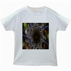 Fractal Waves Whirls Modern Kids White T Shirts by Celenk