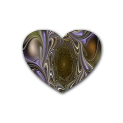 Fractal Waves Whirls Modern Heart Coaster (4 Pack)