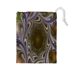 Fractal Waves Whirls Modern Drawstring Pouches (large)