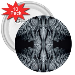 Fractal Blue Lace Texture Pattern 3  Buttons (10 Pack)