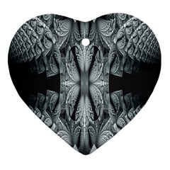 Fractal Blue Lace Texture Pattern Heart Ornament (two Sides)