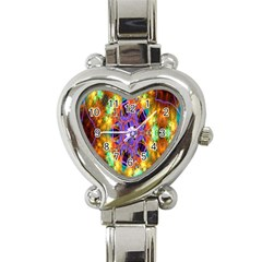Kaleidoscope Pattern Ornament Heart Italian Charm Watch by Celenk