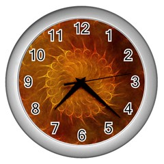 Orange Warm Hues Fractal Chaos Wall Clocks (silver)  by Celenk