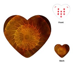 Orange Warm Hues Fractal Chaos Playing Cards (heart)