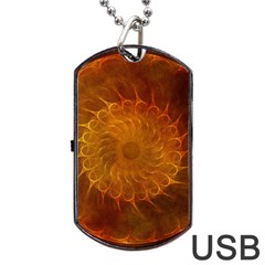 Orange Warm Hues Fractal Chaos Dog Tag Usb Flash (two Sides) by Celenk